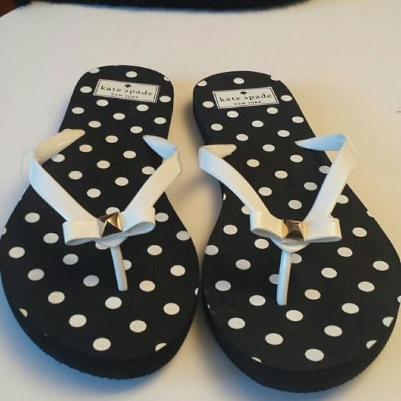 cdebe075c3ec Kate Spade Shoes - Kate Spade NWT Black   White Polka-dot Flip Flops